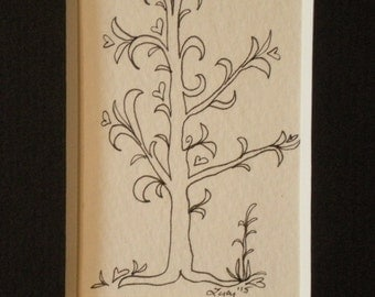 Growing Hearts #1 tree doodle original ink drawing by Lucy (#103)