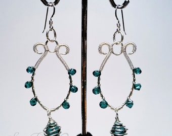 Sterling silver and green Swarovski crystal earrings