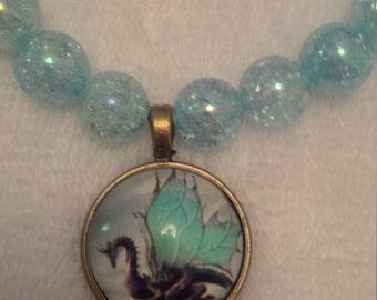 Aqua Beaded Dragon Pendant Necklace  (#426)