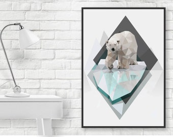 Low Poly Art, Polar Bear Illustration Print in A4 or A3