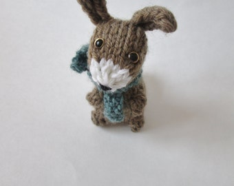 Hand Knit Small Stuffed Bunny Rabbit with Scarf ∙ Woodland Animal Decor