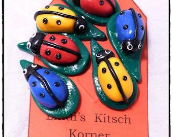 Push pins, drawing pins, memo pins, Fimo pins, Ladybird pins, ladybirds