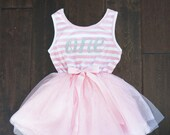 First Birthday outfit dress with silver letters and pink tutu for girls or toddlers
