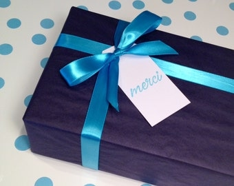 Merci Thank You Gift Tags/Party Favor Tags - Blue and White - Set of 6