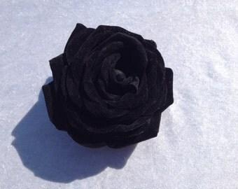 1 Jumbo Black Velvet Rose Artificial Flowers Scrapbooking Flower Embellishments Craft Flowers