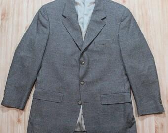 Vintage Men's Three-button Brown Navy Blue Houndstooth Linen Sport Coat Blazer 42 43 R