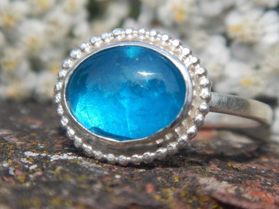 Neon Blue Apatite and Sterling Silver Ring Bright by ...