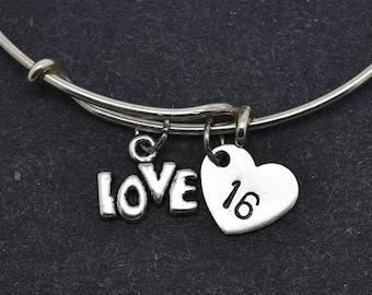 Love Bangle, Sterling Silver Bangle, Love Bracelet, Bridesmaid Gift, Personalized Bracelet, Charm Bangle, Initial Bracelet, Monogram