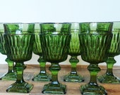 Set of Seven Green Mount Vernon Glasses - perfect for a green or peacock wedding. Square-footed pedestal glasses by Indiana Glass!