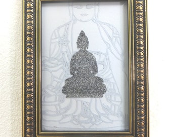 Miniature Handwritten Heart Sutra on Buddha Figure