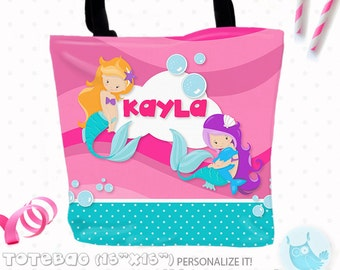 SALE Mermaid Personalized Tote Bags, custom Tote bag, kids tote, school tote, kindergarten tote, beach tote bag, Girl Tote Bags TB100