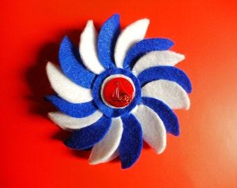 "White and Blue Felt Flower Rosette Brooch with Nautical ""Retro/Vintage"" Button (Medium)"
