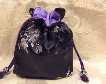 Japanese Drawstring Bag (black/purple brocade)