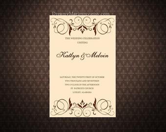 Printable Wedding Ceremony Program Template, Vintage Wedding Template, S004-1