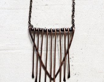 Copper Triangle Fringe Pendant Necklace