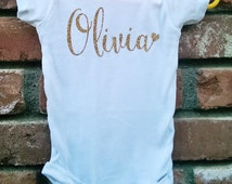 Glitter Name Onesie. Personalized onesie. Baby Girl Custom Onesie. Name with heart onesie.