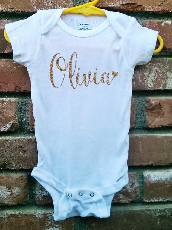 Glitter Name Onesie Personalized Onesie Baby Girl Custom