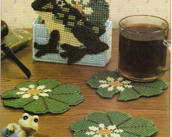 Cute Frog and Lilly Pad Coaster Set Pattern in Plastic Canvas