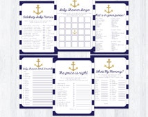 Nautical Baby Shower Games Package, Bingo Game, What's in Your Purse?, The Price is Right Game, DIY Printable Game, INSTANT DOWNLOAD