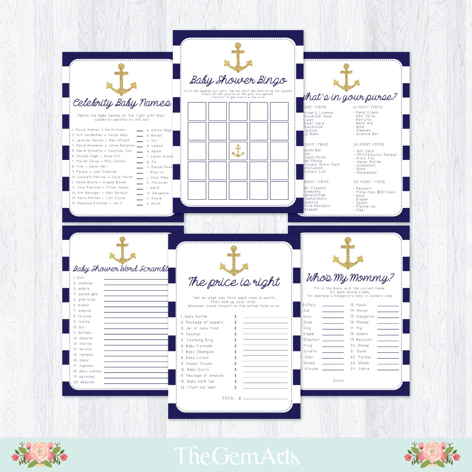 nautical baby shower games package bingo game what 39 s by thegemarts