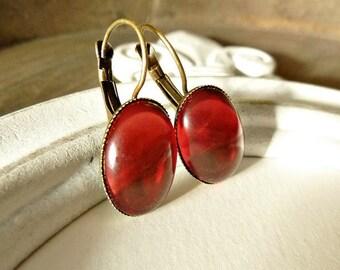 Earrings Fuchsia/ Bright Red