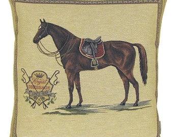 jacquard woven belgian tapestry cushion pillow horse Royal Dressage