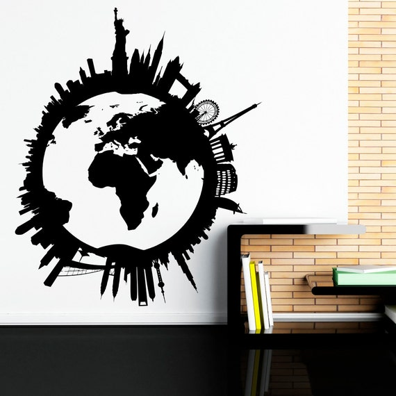 world map wall decal world globe wall decal travel stickers world map wallpaper mural for kids room
