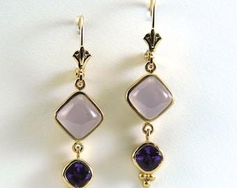 Amethyst earrings,Purple drop earring, Purple stone earring, Holly lilac blue Chalcedony earrings, yellow gold earrings, amethyst teardrop