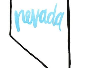 Black outline of Nevada Print