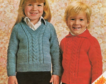 Children's Cable Knit Sweater and Cardigan Knitting Pattern - 20 to 24 inches - Double Knitting