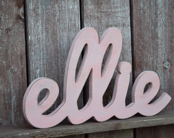 Baby Name Sign - Baby Pink, Ellie - Wooden names signs for nursery decor, baby name signs