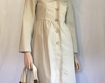 Vintage 1960s Trench Coat - Retro Rain Coat - Beige Womens Raincoat - Rockabilly Coat Size Small S Sm