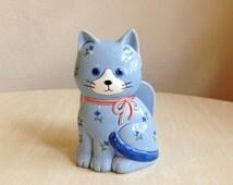 Vintage Handmade Porcelain Otagiri Blue Cat Napkin Holder, Cat / Kitten Collectibles, Quirky, Kitschy Kitchen Decor