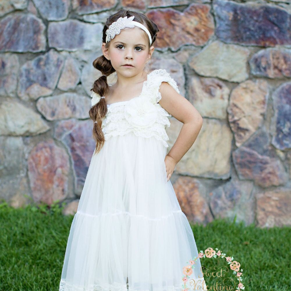 Lace Rustic Flower Girl Dresswhite Lace Dresses By
