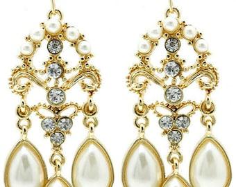 Gold Tone Pearl Chandelier Earrings