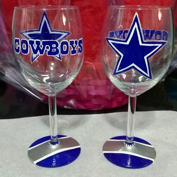 dallas cowboys hand painted wine glass