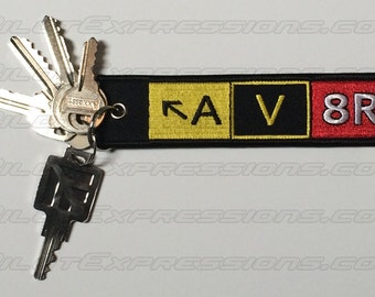 AV8R (Aviator) Taxiway Sign Embroidered Keychain. Aviation Gifts for Pilots!