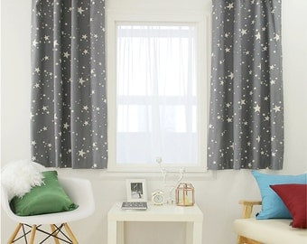 Stars Print Gray Curtain Kids Curtains 100% Cotton Children Lined Curtains Drapery Panel 1Pair for Living Room Bedroom Customized Curtains