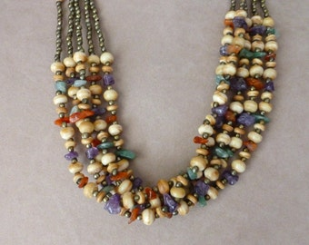 Stone Multi Strand Necklace - Boho Multi Strand Necklace - Polished Stone Necklace