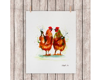 WATERCOLOR Kiss chickens or printing, Original watercolor, watercolor painting chickens A4 size, watercolor rooster and hen, Brown, watercolor love