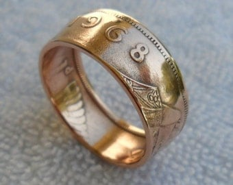 Ireland Handcrafted 1968  Beautiful Copper Coin Ring-