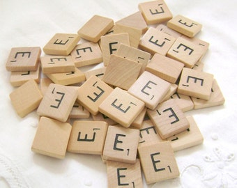 Scrabble tiles 48 Letters Vintage All A O I T  or Random Wood Game Pieces Scrapbooking Supply Crafting Embellishment - Random are available