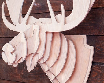 Wooden Moose head 3D puzzle Wooden puzzle Animal head Moosehead Wooden sculpture Moose horns Moose antlers Wooden crafts Wooden wall decor