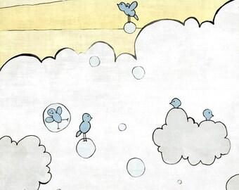 Birds Nursery Art Print, Whimsical Nursery Art, Yellow Blue Kids Room, Sun Nursery Decor, Sunshine Wall Decor, Fluffy Clouds Nursery