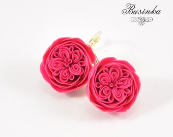 Crimson English Rose Earrings * pink earrings * cute rose earrings * crimson earrings * rustic rose * pink rose gift * romantic rose jewelry