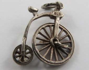 Penny Farthing Big Wheel Bicycle Mechanical Sterling Silver Vintage Charm For Bracelet