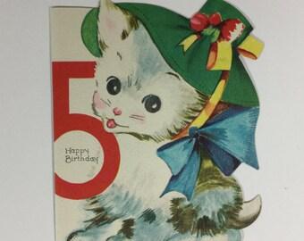 Fancy Hat Wearing Kitten Vintage 1940s Unused Birthday Greeting Card
