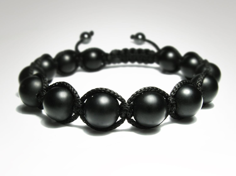 Men's Matte Black Onyx Mens Beaded Bracelet Natural
