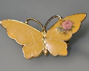 Mini Butterfly Brooch With Rose Design Pin