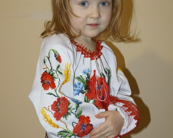 Child embroidery, handmade embroidery, Beads embroidery, tunic for children